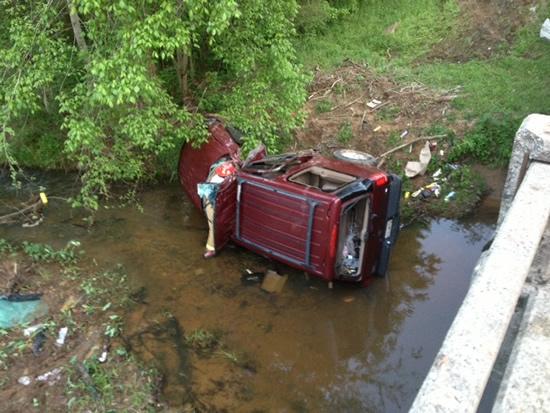 vehicle in creek
